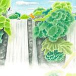 絵本「ゲンの森」-カラスとの出会(色鉛筆)