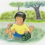 絵本「マサヒロとあたし」[文芸社]p.7(色鉛筆)