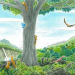 絵本「ゲンの森」-森の仲間(色鉛筆)