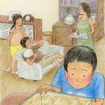 絵本「マサヒロとあたし」[文芸社]p.21(色鉛筆)