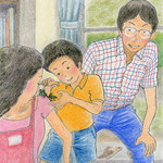 絵本「マサヒロとあたし」[文芸社]p.19(色鉛筆)