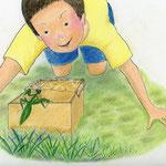 絵本「マサヒロとあたし」[文芸社]p.10-11(色鉛筆)