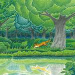 絵本「ゲンの森」-フクロウとの出会い(色鉛筆)