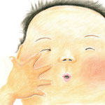 絵本「ぶーん ちく」p.28-29(色鉛筆)