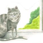 絵本「ぶーん ちく」p.12-13(色鉛筆)