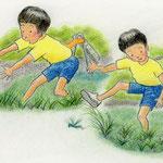絵本「マサヒロとあたし」[文芸社]p.6(色鉛筆)