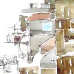 Am Rande der Stadt - Aquarell/Federzeichnung - 0,30 x 0,40, m. R. 0,50 x 0,60