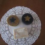 珈琲石鹸(星は竹炭)、竹炭石鹸(星は珈琲)、珈琲石鹸