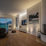 Privathaus Mainz Linienleuchten Wohnzimmer