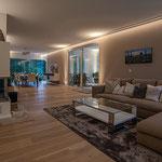 Privathaus Odenwald LED-Linien Wohnzimmer