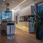 Privathaus Mainz Linienleuchten Küche