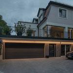 Privathaus Odenwald LED-Linien Fassade Garage