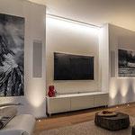 Privathaus Mainz Linien- und Bodeneinbauleuchten Wohnzimmer