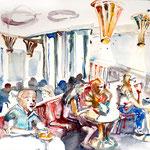 Im Kaffeehaus, Aquarell 2015
