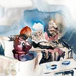 Kaffeekränzchen, Aquarell 2016