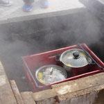 Sie kochen alles mit der Wärme der heißen Quellen hier.