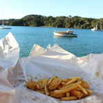 Angeblich der beste Fish and chips shop in NZ, Manganui...