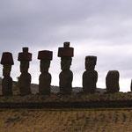 Die sieben Botschafter, die von den Cook Islands (NZ) kamen, um neues Land für den König zu finden. So entstand Rapa Nui