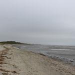 Am nördlichsten Ende: der Farewell Spit - eine riesige Sanddünde, bei dem Wetter schwer zu erkennen...