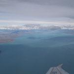 Flug über den Lago Argentino mit den Gletschern im Hintergrund, El Calafate - Ushuaia