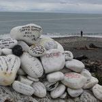Bruce Bay: Hier hinterlassen viele Traveler ihre Grüße und Gedanken