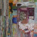 Fisch mit Würfel, 150x180 cm, Collage auf Leinwand, 2012, Preis 1950,-