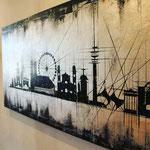 Detail *München Skyline* 80/200, Acryl auf Blattsilber auf Leinwand