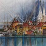 *Regensburg* 80/120, Aquarell auf Leinwand