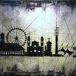 *München Skyline* 80/200, Acryl auf Blattsilber auf Leinqwand