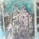 Begegnungen 3,Grafit, Tusche, Papierspachtelmasse auf Zeichenkarton, 80 x 70 cm