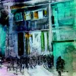 Begegnungen 2,Grafit, Tusche, Papierspachtelmasse auf Zeichenkarton, 80 x 70 cm