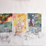 Paris,  Mischtechnik, Acryl,Tusche auf Papier, Grafit auf Transparentpapier, 50 x 60 cm