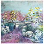 Schöne neue Welt 1, Spachtelmasse, Acryl und Tusche auf Leinwand, 100 x 100 cm