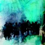 Begegnungen 4,Grafit, Tusche, Papierspachtelmasse auf Zeichenkarton, 80 x 70 cm