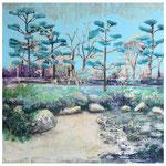 Schöne neue Welt 3, Spachtelmasse, Acryl und Tusche auf Leinwand, 100 x 100 cm