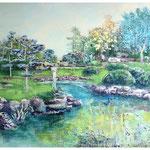 Schöne neue Welt 2, Spachtelmasse, Acryl und Tusche auf Leinwand, 110 x 140 cm