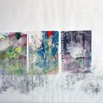 Oslo, Mischtechnik, Acryl,Tusche auf Papier, Grafit auf Transparentpapier, 50 x 60 cm