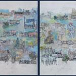 Die Brücke,  Mischtechnik, Tempera, Acryl auf Malkarton mit Baumwollgewebe, 180 x 80 cm,