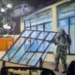 Invasion 4, Acryl und Spachtelmasse auf Leinwand,50x40 cm