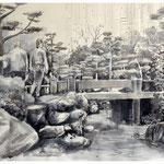 Vernetzt 4, Tusche, Grafit, Fineliner auf Zeichenpapier, 50 x 70 cm