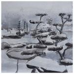 Schöne neue Welt 6, Spachtelmasse, Acryl und Tusche auf Leinwand, 50 x 50 cm