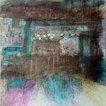 Begegnungen 6,Grafit, Tusche, Papierspachtelmasse auf Zeichenkarton, 80 x 70 cm