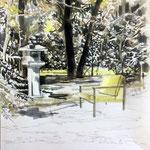 Japanischer Garten, Tusche, Grafit auf Zeichenkarton, 70 x 50 cm