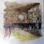 Begegnungen 5,Grafit, Tusche, Papierspachtelmasse auf Zeichenkarton, 80 x 70 cm
