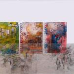 Belgrade, Mischtechnik, Acryl,Tusche auf Papier, Grafit auf Transparentpapier, Städtische Galerie Kaarst, , 50 x 60 cm