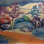 Aussteiger 1, Acryl, Tusche Spachtelmasse und Fineliner auf Leinwand, 60 x 80 cm