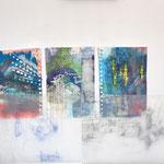 München, Mischtechnik, Acryl,Tusche auf Papier, Grafit auf Transparentpapier, 50 x 60 cm