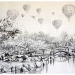 Vernetzt 5, Tusche, Grafit, Fineliner auf Zeichenpapier, 50 x 70 cm