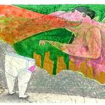 「ぼくが見たのは こわれた町並み 大きなカイジュウ みどり色の空」水彩インク、クレヨン、ペン、鉛筆、コラージュ