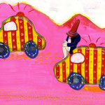 「楽しいドライブ」アクリル絵の具、ペンキ、クレヨン、鉛筆、